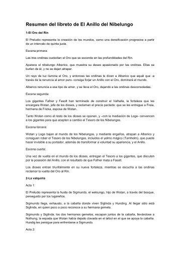 Resumen del libreto de El Anillo del Nibelungo
