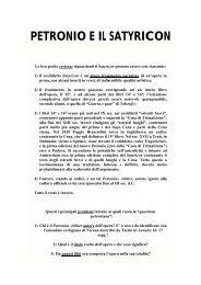 PETRONIO E IL SATYRICON - Liceo Classico Benedetto da Norcia