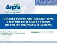 A. Colombo: L'Utilizzo della tecnica PSInSAR in Piemonte - Arpa