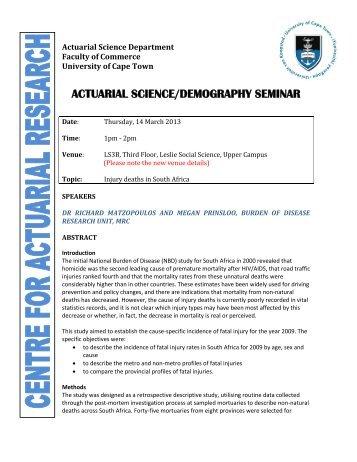 actuarial science/demography seminar - University of Cape Town