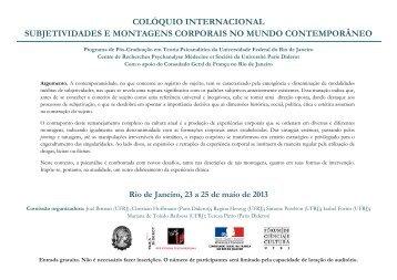 Colóquio Internacional Subjetividades e Montagens ... - Eco (UFRJ)