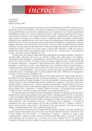 Ivano Ferrari MACELLO Einaudi, Torino, 2004 Ne La ... - Adda Editore