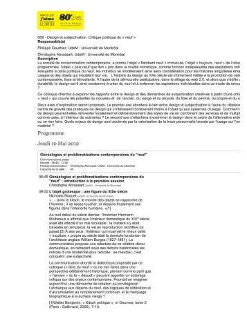 disponible ici - design ∩ société - Université de Montréal