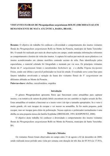 VISITANTES FLORAIS DE Phragmipedium sargentianum ... - Embrapa