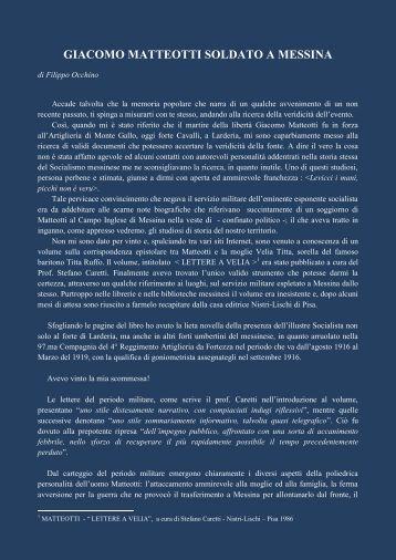 GIACOMO MATTEOTTI SOLDATO A MESSINA di ... - Forte Cavalli