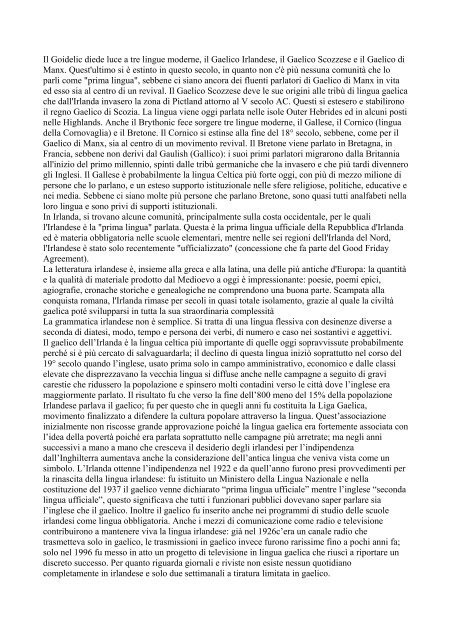 LE LINGUE CELTICHE - Latinitas or Europa