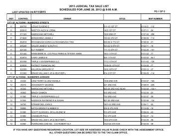 2013 JUDICIAL SALE LIST - Blair County Tax Claim Bureau