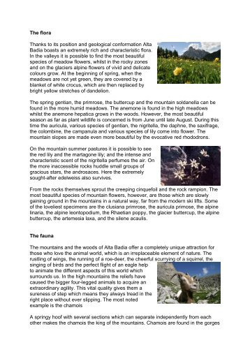 The flora Thanks to its position and geological ... - Alta Badia