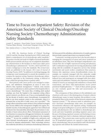 Time to Focus on Inpatient Safety - American Society of Clinical ...