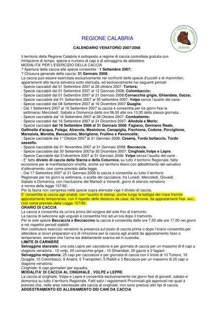 Regione Calabria Caccia E Pesca Calendario Venatorio.Calendario Venatorio Calabria 2007 08 Pdf Il Bracco