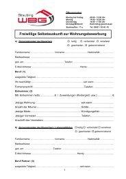 Freiwillige Selbstauskunft zur Wohnungsbewerbung - WBG Straubing