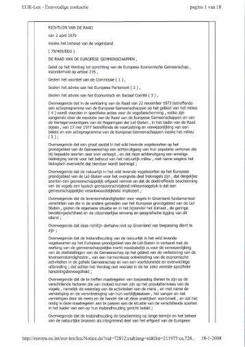 Richtlijn 79/409/EEG - Eerste Kamer der Staten-Generaal