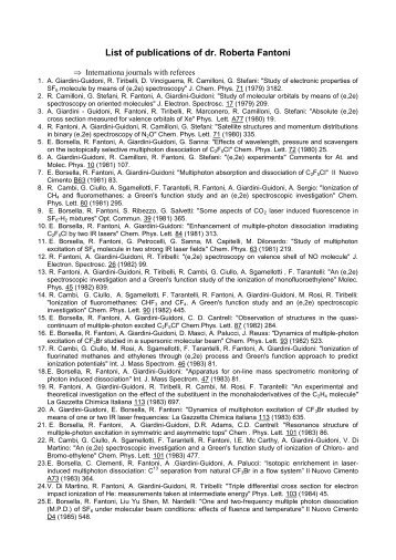 List of publications of dr. Roberta Fantoni - C.R. ENEA Frascati - Enea