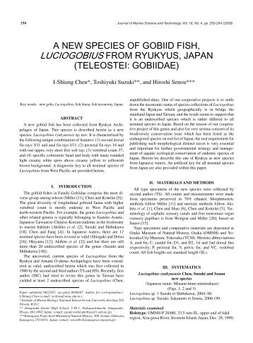 a new species of gobiid fish, luciogobius from ryukyus, japan