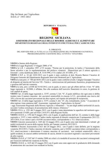 Federazione Siciliana Della Caccia Calendario Venatorio.494 29 12 2011 Favata Bru