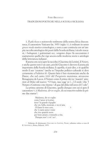 Traduzioni poetiche nella scuola siciliana - Provincia di Padova