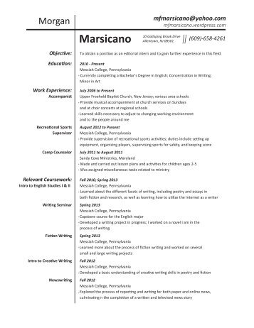 Morgan Marsicano Resume
