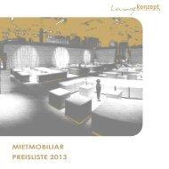 Loungekonzept - MIETMOBILIAR PREISLISTE 2013