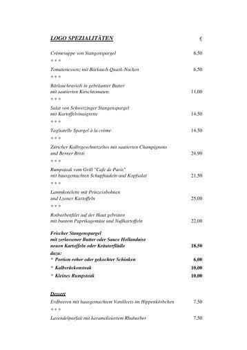LOGO Bistro Speisekarte Spargel 2011 - Restaurant LOGO
