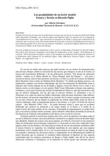 2. Giordano, Las perplejidades de un lector modelo - Revista Orbis ...