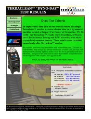 """TERRACLEAN™ """"DYNO-DAY"""" TEST RESULTS"""