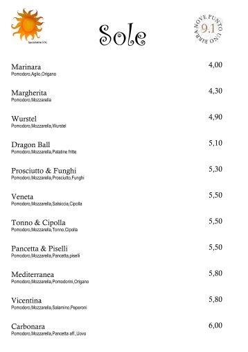 menu per pizze e cotolette - Pizzeria Sole