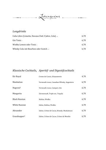 Longdrinks Klassische Cocktails, Aperitif- und ... - im Lohengrins