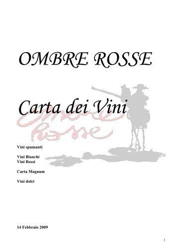 OMBRE ROSSE Carta dei Vini