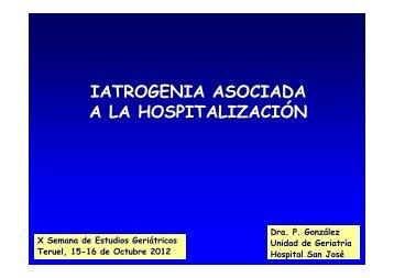 Presentación Dra. González.Yatrogenia ligada a la hospitalización