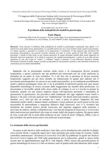 V Congresso della Federazione Italiana delle Associazioni di ... - FIAP