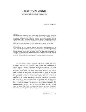 A DERROTA DA VITÓRIA: - Revista Novos Estudos