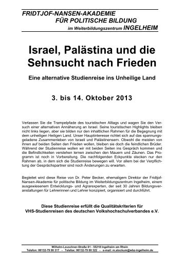 Israel, Palästina und die Sehnsucht nach Frieden Eine alternative ...