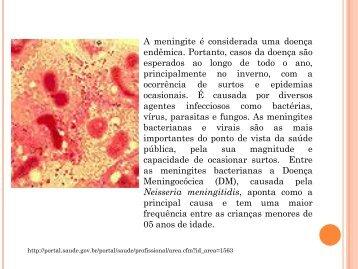 A meningite é considerada uma doença endêmica ... - Suvisa