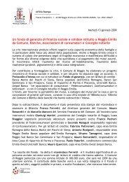 Un fondo di garanzia di finanza sociale e solidale istituito a Reggio ...