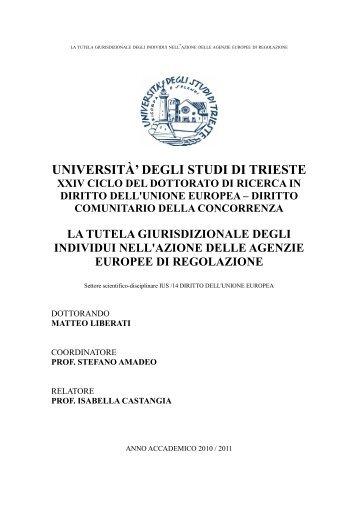 UNIVERSITÀ' DEGLI STUDI DI TRIESTE - OpenstarTs - Università ...