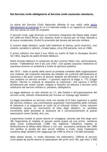 Dal Servizio civile obbligatorio al Servizio civile nazionale volontario ...