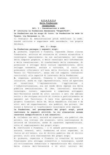 """S T A T U T O della Fondazione """"GraphiTech"""" Art. 1 ..."""