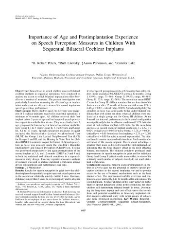 Importance of Age and Postimplantation Experience on Speech ...