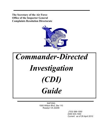 Commander-Directed Investigation (CDI) Guide - Air Force Link