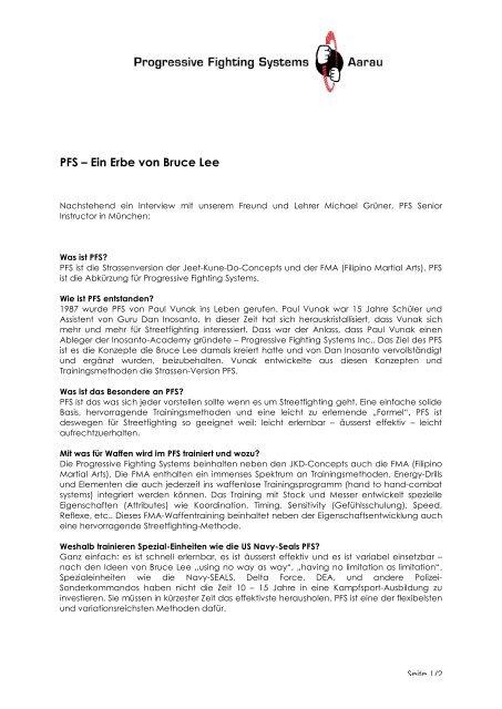 Pfs Progressive Fighting Systems Aarau Schweiz
