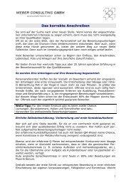 Das korrekte Anschreiben - Weber Consulting GmbH