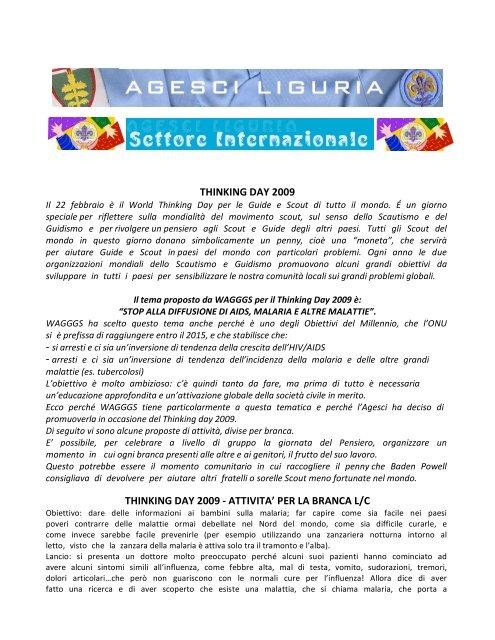 scopri le nostre proposte di attivita' per il thinking day! - Agesci Liguria