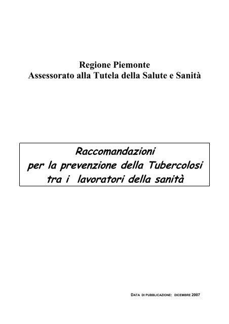 Raccomandazioni per la prevenzione della Tubercolosi tra i