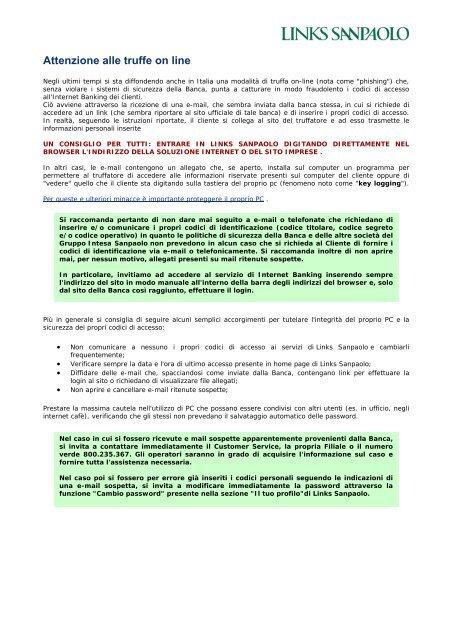 Attenzione Alle Truffe On Line Links Sanpaolo Intesa Sanpaolo