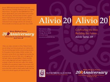 to view the 20th Anniversary brochure - Alivio Medical Center