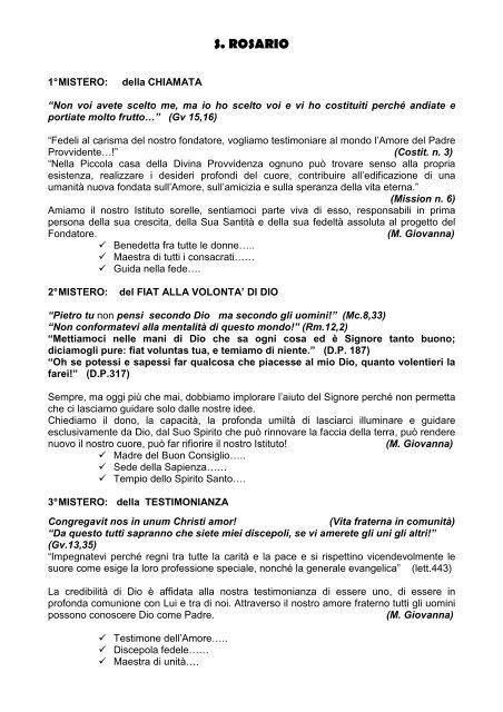 Rosario meditato - Suore di San G. B. Cottolengo IX Capitolo ...