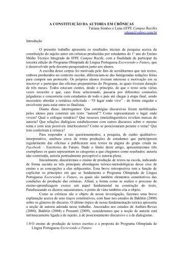 A CONSTITUIÇÃO DA AUTORIA EM CRÔNICAS Tatiana ... - GELNE