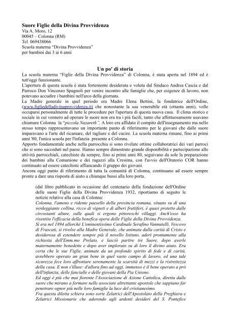 Suore Figlie della Divina Provvidenza - Comune di Colonna