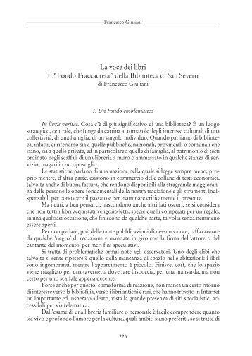 """La voce dei libri. Il """"Fondo Fraccacreta"""" della Biblioteca di San Severo"""