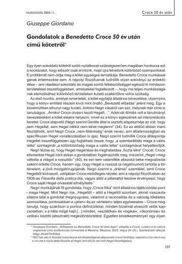 Gondolatok a Benedetto Croce 50 év után című kötetről - EPA